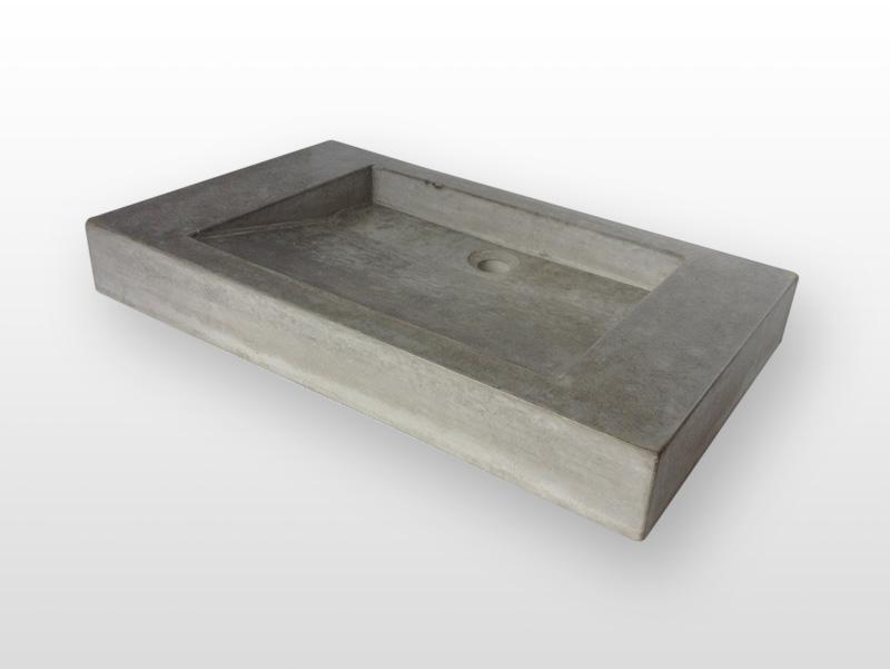 Wastafel van beton_Productfoto_wastafel model schuinaflopend_grijs