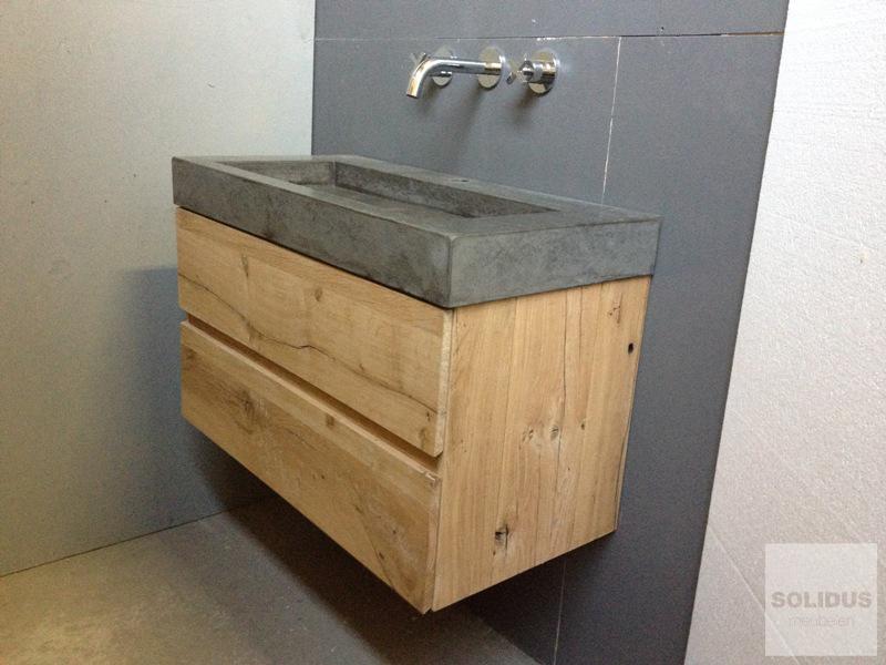 Wastafel Van Beton : Solidus meubelen badmeubel oud eiken met betonnen wasbak